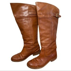 Coach Tan Leather Joele Tall Pull On Riding Boots